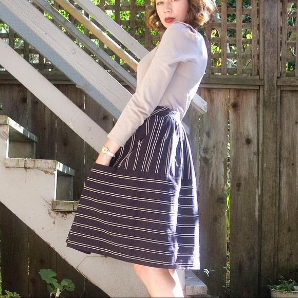 Maeve Dresses & Skirts - Maeve Anthrologie blue striped skirt 2